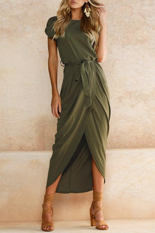 Vee High Split Casual Maxi Dress