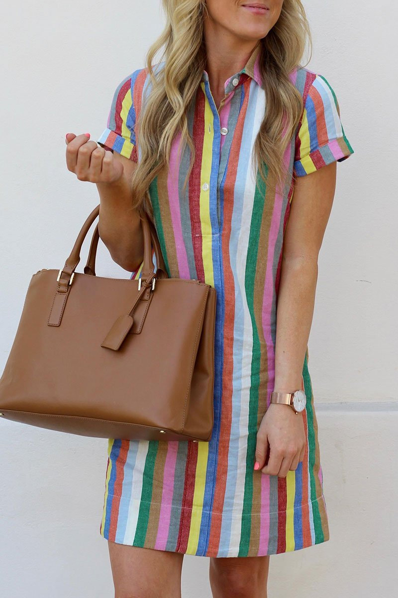 Vee Rainbow Striped Straight Mini Dress