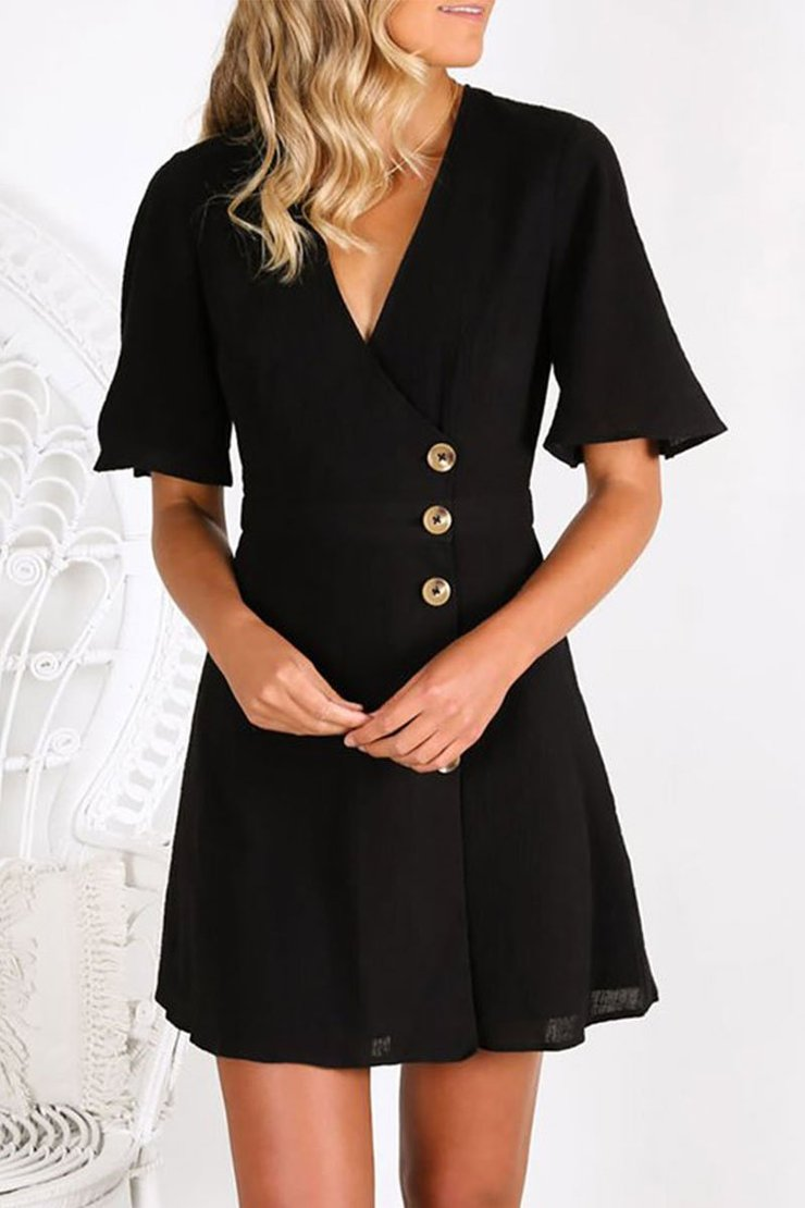 Vee V Neck Buttons Down Wrap Mini Dress