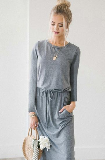 Vee Front Pocket Casual Dress