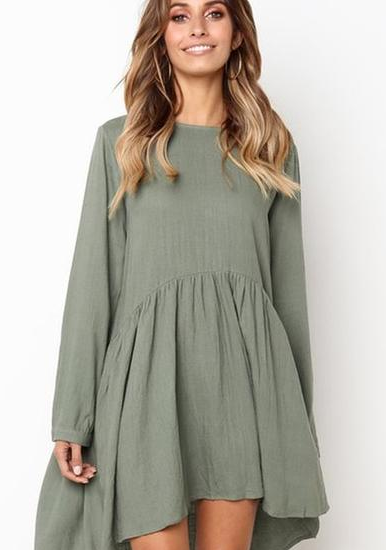 Vee Loose Pleated Mini Dress