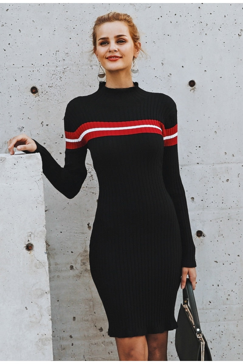 Vee Casual Turtleneck Sweater Dress
