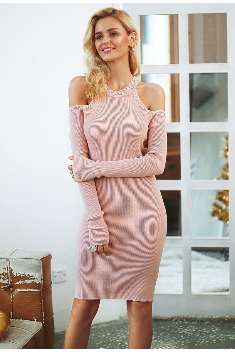 Vee Cold Shoulder Beading Sweater Dress