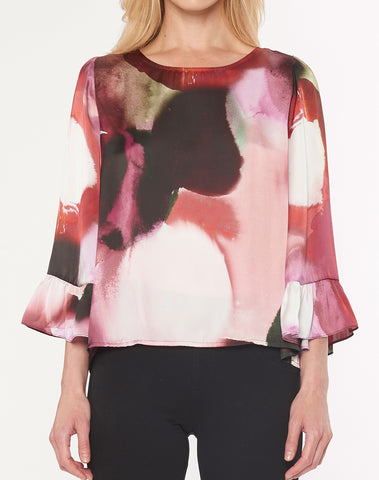 3/4 Bell Sleeve Top With Ruffle Sleeve