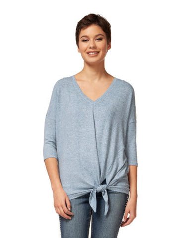 3/4 Slv V-neck Side Tie Top