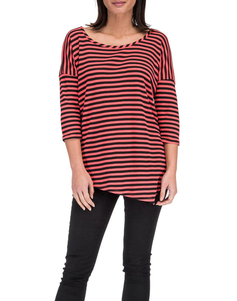 3/4 Sleeve Asymmetrical Stripe Tee