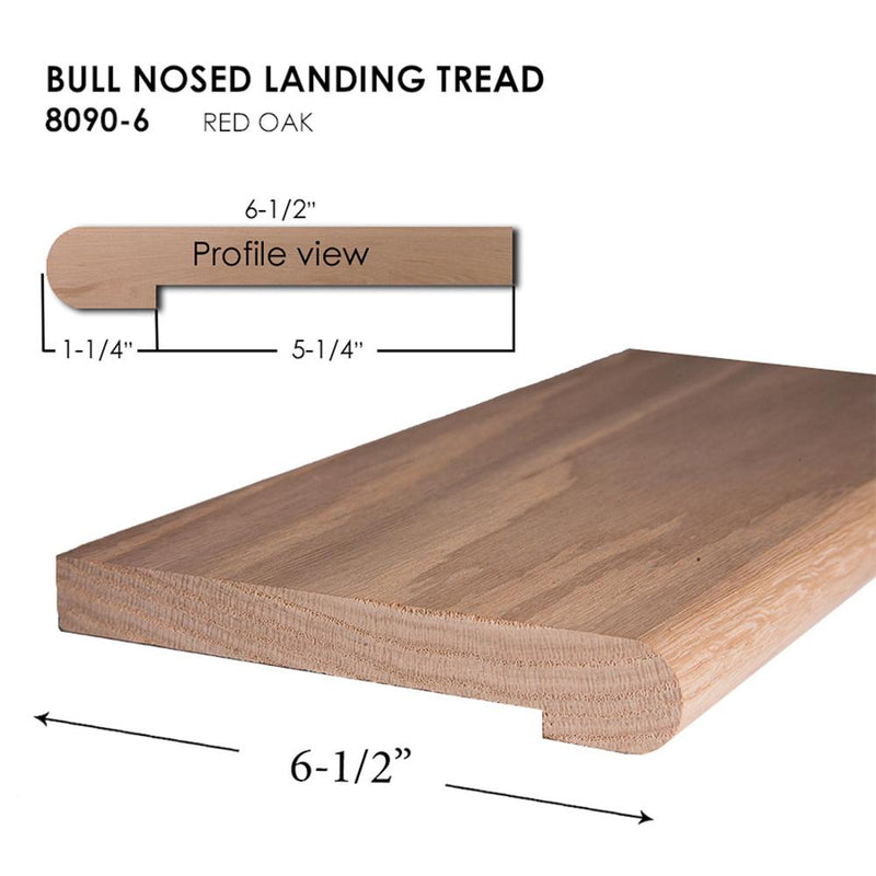 8090-6 Bullnosed Landing Tread Wood Tread House of Forgings