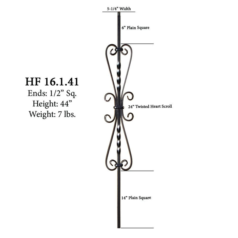 16.1.41 Twisted Heart Scroll Iron Baluster - Satin Black Iron Baluster House of Forgings
