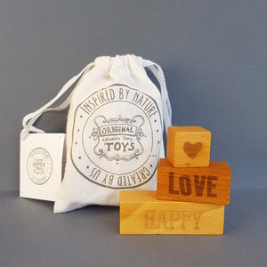 Wooden Story On my Mind -  Happy Love 3 Engraved Wooden Blocks - Unik by Nature