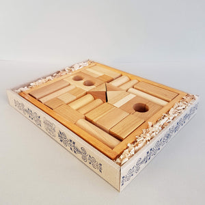 Wooden Story Natural Blocks 30 pieces Handcrafted in Poland - Unik by Nature