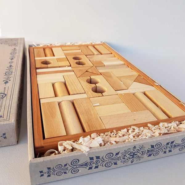 Wooden Story Natural Blocks 54 pieces Handcrafted in Poland - Unik by Nature