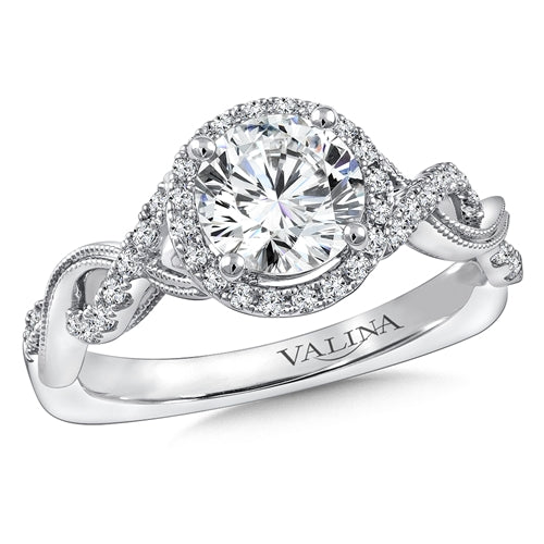 Valina Diamond Engagement Ring Mounting in 14K White Gold (1/4 ct. tw.)