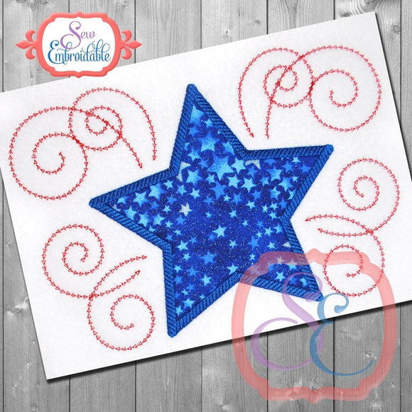 Star Swirls 2 Applique - embroidery-boutique