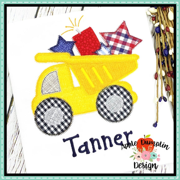 4th of July Dump Truck Zigzag Applique Design