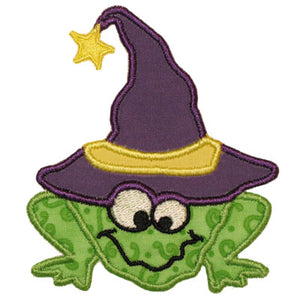 Witch Frog Applique - embroidery-boutique
