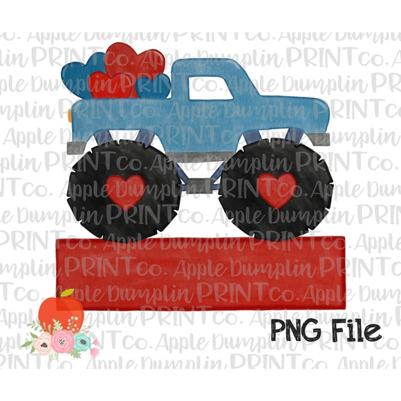 Blue Monster Truck with Hearts Banner Watercolor Printable Design PNG - embroidery-boutique