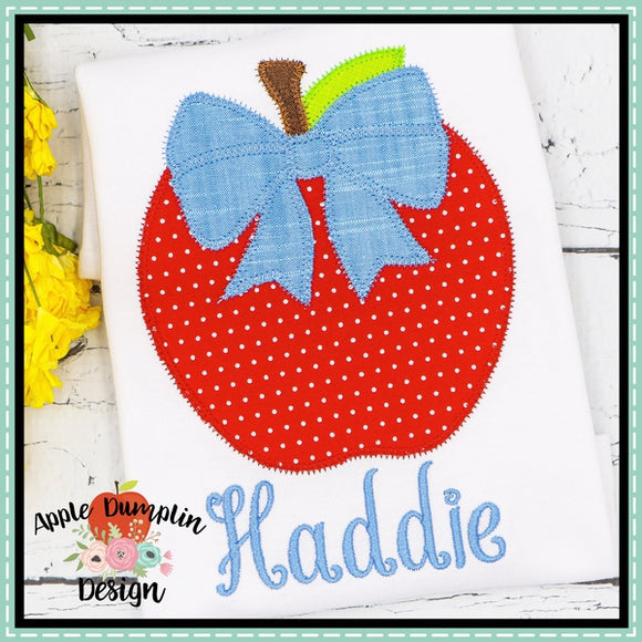 Apple with Bow Zigzag Applique Design