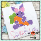 Bunny with Carrot Girl Applique Design