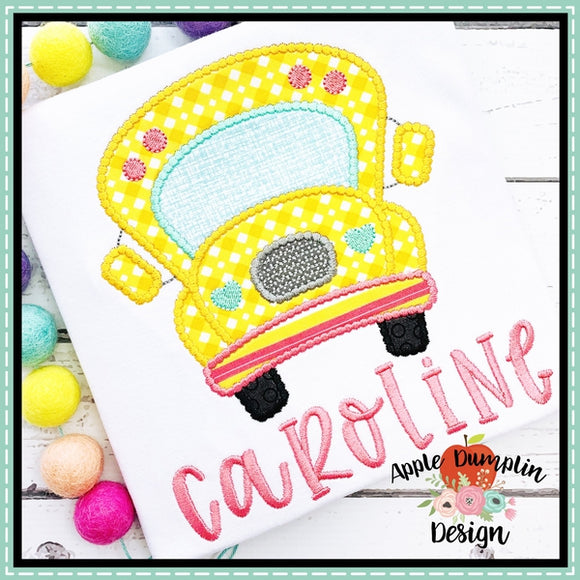 School Bus Scallop Satin Applique Design