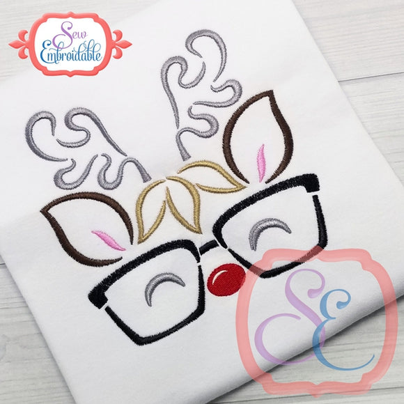 Reindeer Face Boy Glasses Outline - embroidery-boutique