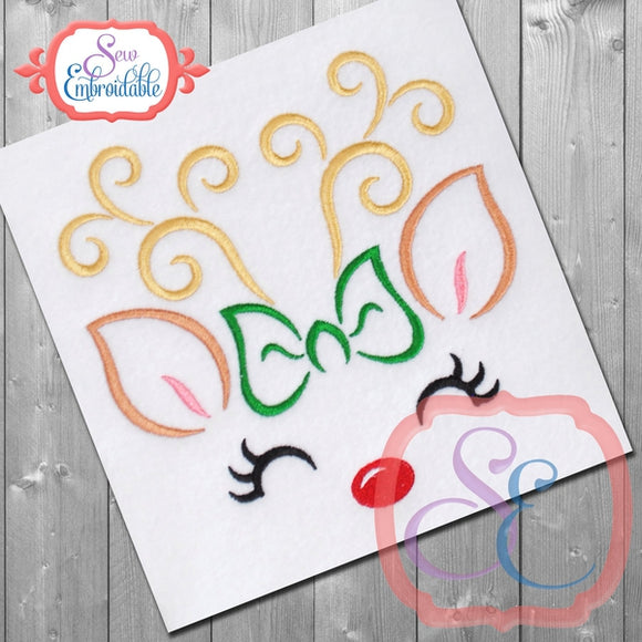 Reindeer Face Girl Outline - embroidery-boutique