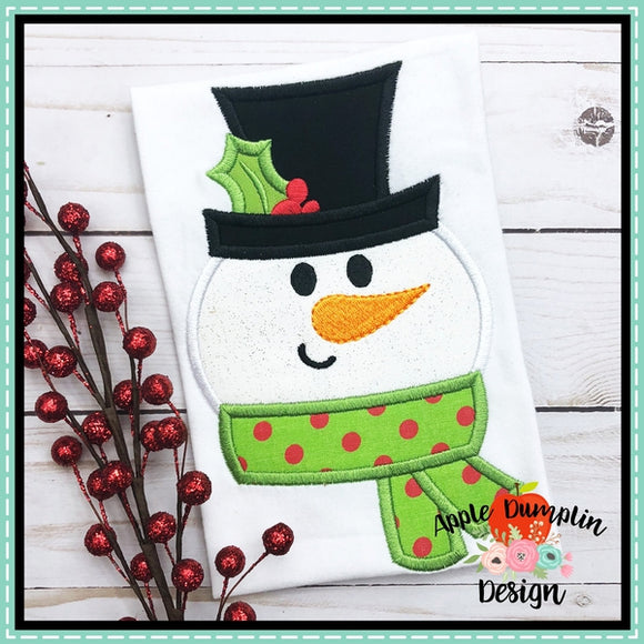 Snowman Face Applique Design - embroidery-boutique
