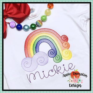 Swirl Rainbow Sketch Embroidery Design