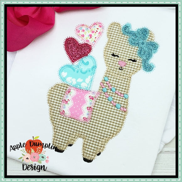 Valentine Llama Zigzag Applique Design - embroidery-boutique
