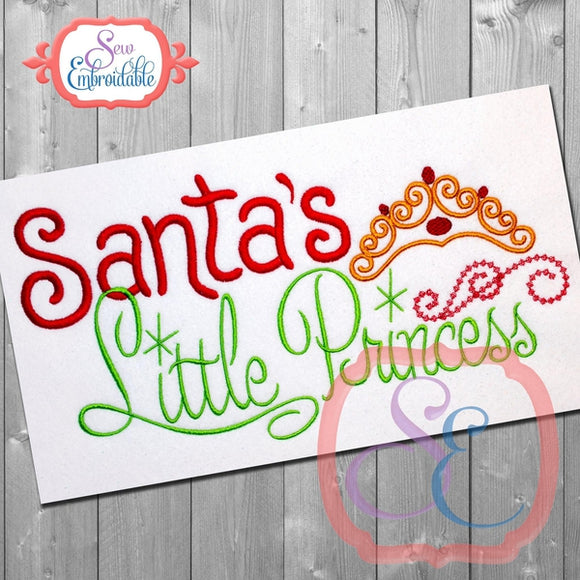 Santa's Little Princess Embroidery Design - embroidery-boutique