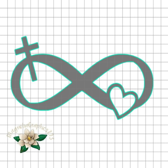 Infinity Cross Heart Christian PNG Printable Design