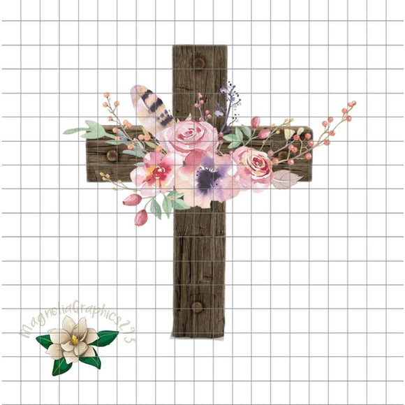 Floral Wooden Cross PNG Printable Design