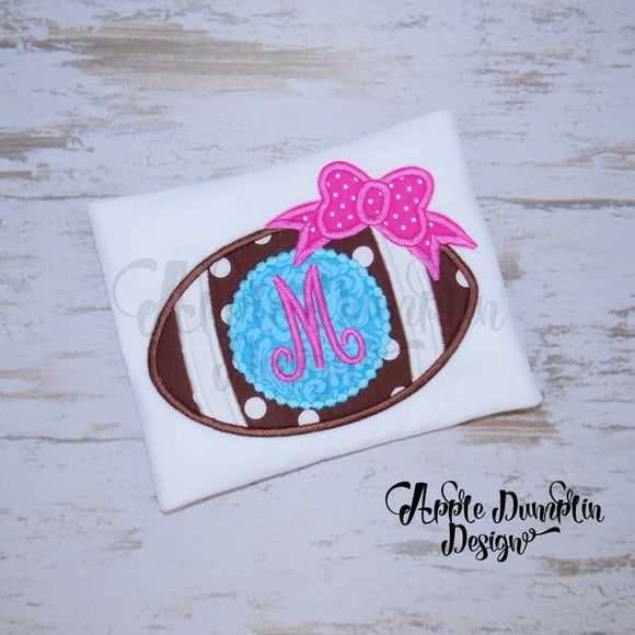 Football with Bow for Monogram Applique Design - embroidery-boutique