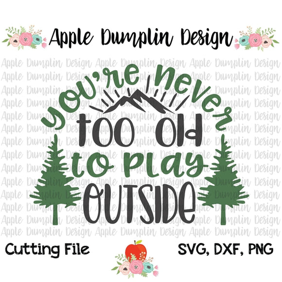 Your'e Never Too Old to Play Outside SVG - embroidery-boutique