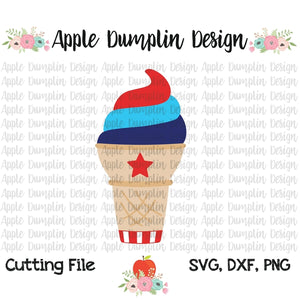 4th of July Ice Cream Cone SVG - embroidery-boutique