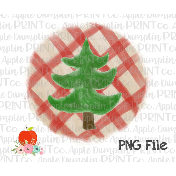Christmas Tree Plaid Watercolor Printable Design PNG - embroidery-boutique