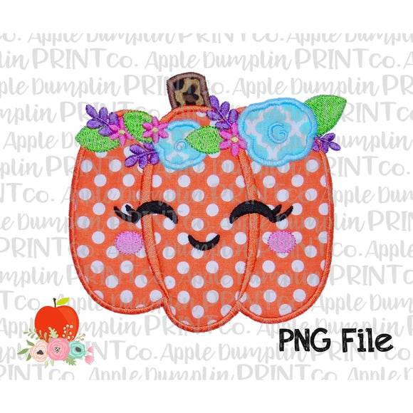 Pumpkin with Flowers and Face Appliqué Style Printable Design PNG - embroidery-boutique