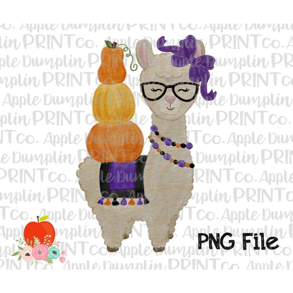 Halloween Llama with Glasses Watercolor Printable Design PNG - embroidery-boutique
