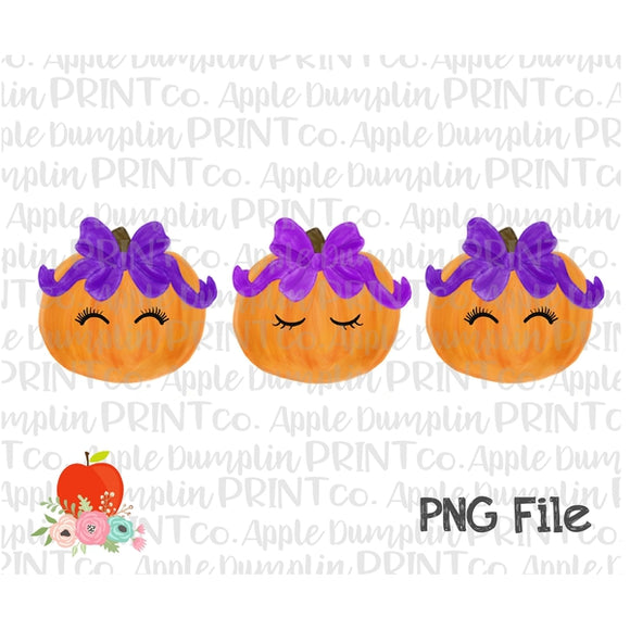 Pumpkin with Eyelashes and Bow Trio Watercolor Printable Design PNG - embroidery-boutique