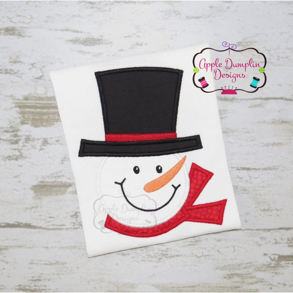 Snowman with Top Hat Applique Design - embroidery-boutique
