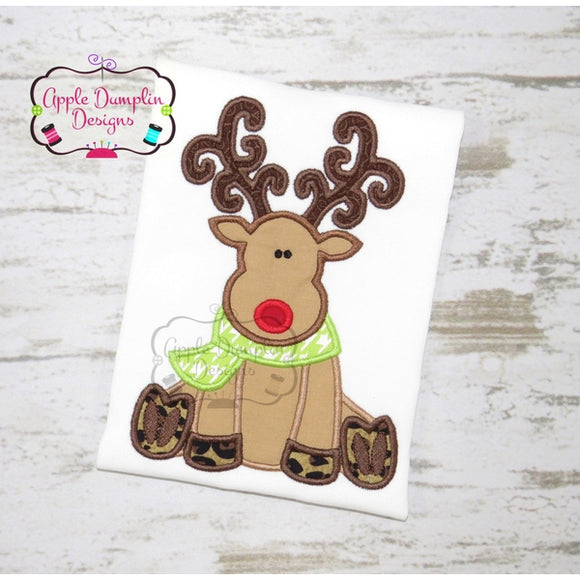 Reindeer Sitting Applique Machine Embroidery Design - embroidery-boutique