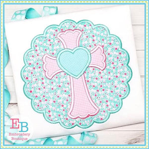 Scalloped Cross with Heart Satin Applique