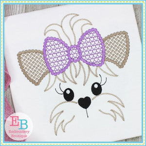 Yorkie Face Motif with Heart Bow Design