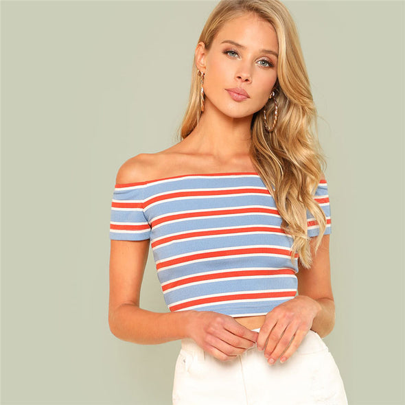 Striped Bardot Tee