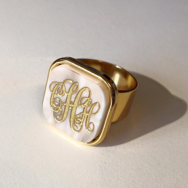 Vineyard Monogram Ring - Square