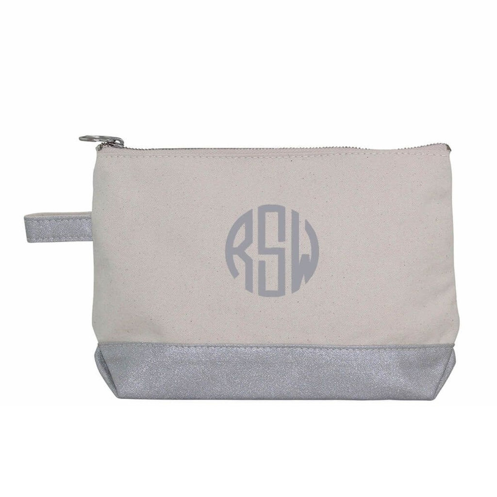 Silver Metallic & Canvas Accessory Pouch