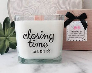 Closing Time Design * New Home Gift * House Closing Gifts * Realtor Gifts * Real Estate Gifts * New House Candle * Housewarming Gift