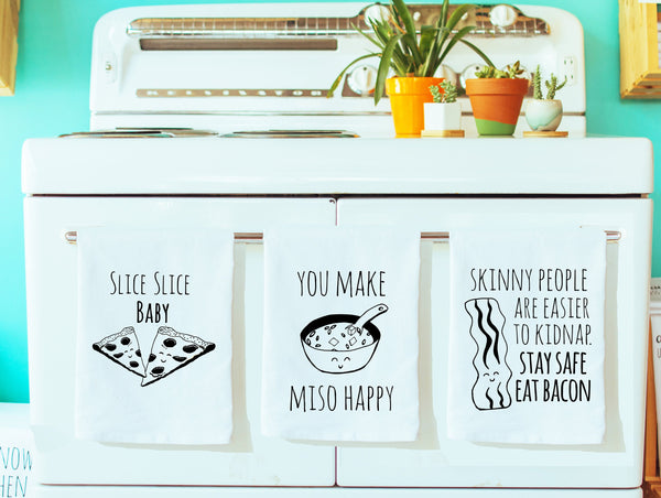 Dish Towel Gift Set of 3 ~ Mix and Match ~ Pizza, Miso, Bacon ~ Dish towel set White Or Gray - MoonlightMakers