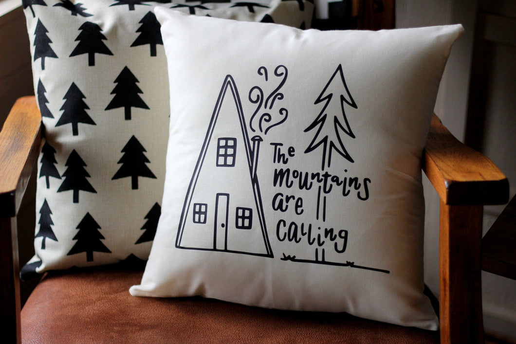 The Mountains are Calling Cabin Life Hand drawn Pillow Adventure Explore Forest Theme 16 x16 Trees Handwritten