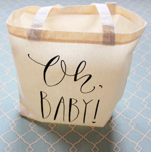 Baby Shower Guest Favor or Baby Shower Gift Bag Handwritten Oh Baby Tote