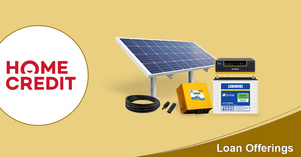emi options for solar power system with bank loan or home credit